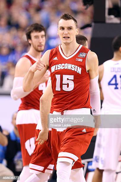 Sam Dekker of the Wisconsin Badgers celebrates after a play in the second half against the Kentucky Wildcats during the NCAA Men's Final Four...