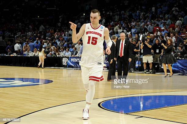 Sam Dekker of the Wisconsin Badgers celebrates after the Badgers 7972 victory against the North Carolina Tar Heels during the West Regional Semifinal...