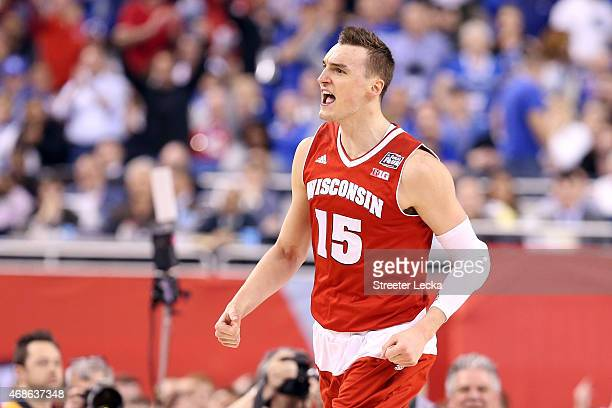 Sam Dekker of the Wisconsin Badgers reacts after a play late in the second half against the Kentucky Wildcats during the NCAA Men's Final Four...
