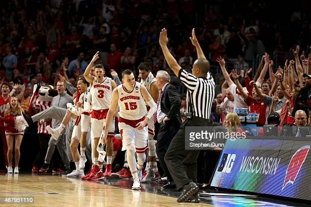 Sam Dekker of the Wisconsin Badgers reacts after making a threepointer in the second half while taking on the Arizona Wildcats during the West...