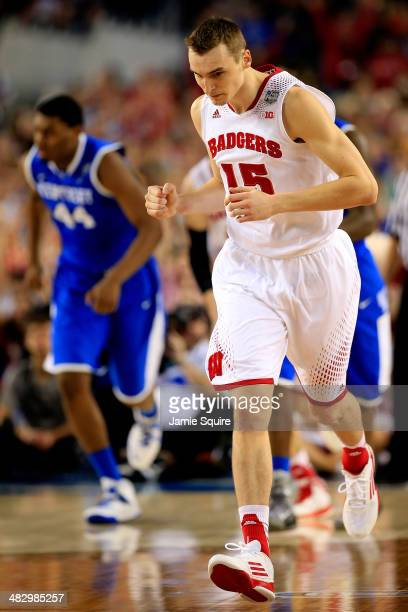 Sam Dekker of the Wisconsin Badgers reacts during the NCAA Men's Final Four Semifinal against the Kentucky Wildcats at ATT Stadium on April 5 2014 in...