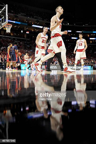 Sam Dekker of the Wisconsin Badgers reacts in the second half while taking on the Arizona Wildcats during the West Regional Final of the 2015 NCAA...