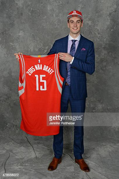 Sam Dekker poses for a portrait after being drafted number eighteen overall by the Houston Rockets at the Barclays Center on June 25 2015 in the...