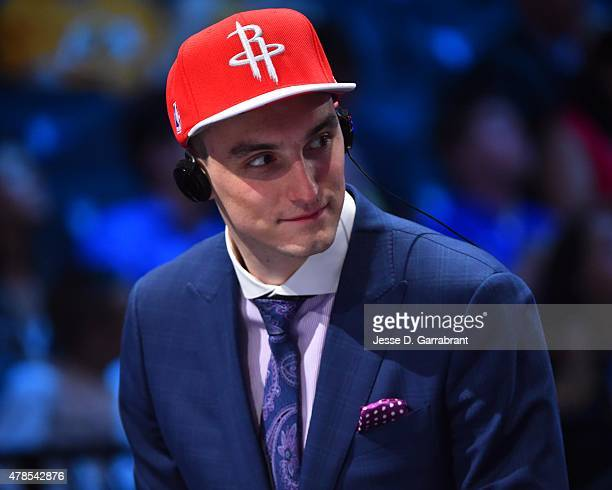 Sam Dekker the 18th pick overall in the 2015 NBA Draft by the Houston Rockets speaks to the media during the 2015 NBA Draft at the Barclays Center on...