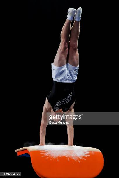 Sam Dick of New Zealand competes in Men's Vault Finalon day 8 of Buenos Aires 2018 Youth Olympic Games at Youth Olympic Park on October 14 2018 in...