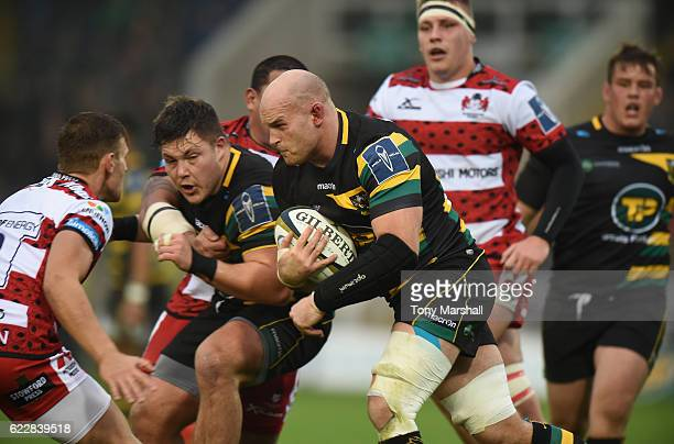 Sam Dickinson of Northampton Saints powers forward during the AngloWelsh Cup match between Northampton Saints and Gloucester Rugby at Franklin's...