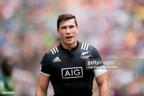 Sam Dickson of New Zealand reacts during the 2017 Hong Kong Sevens match between South Africa and New Zealand at Hong Kong Stadium on April 9 2017 in...