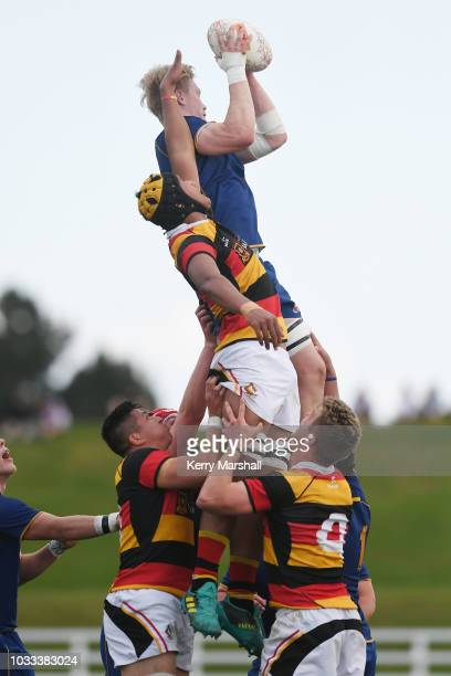 Sam Dickson of Otago takes a lineout during the Jock Hobbs U19 Rugby Tournament on September 15 2018 in Taupo New Zealand