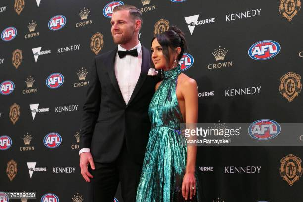 Sam Docherty of the Blues and his partner Natalie Cini arrives ahead of the 2019 Brownlow Medal at Crown Palladium on September 23 2019 in Melbourne...