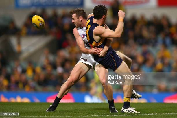Sam Docherty of the Blues and Luke Shuey of the Eagles contest for the ball during the round 21 AFL match between the West Coast Eagles and the...