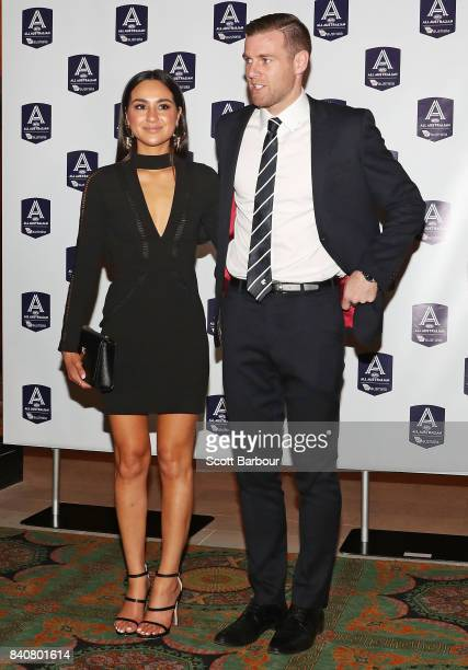 Sam Docherty of the Blues and partner arrive during the AFL All Australian team announcement at the Palais Theatre on August 30 2017 in Melbourne...