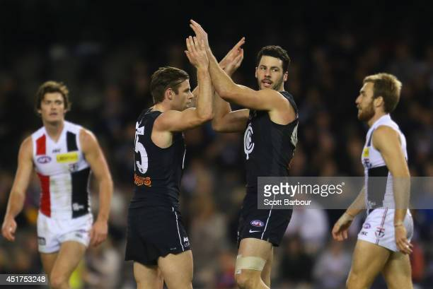 Sam Docherty of the Blues celebrates after kicking a goal during the round 16 AFL match between the Carlton Blues and the St Kilda Saints at Etihad...