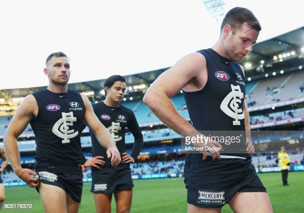 Sam Docherty of the Blues looks dejected after defeat during the round 15 AFL match between the Carlton Blues and the Adelaide Crows at Melbourne...