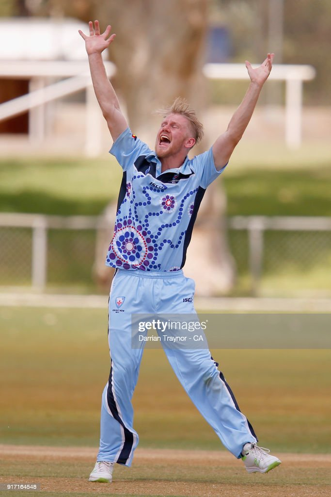 Sam Doggett of N.S.W. celebrates taking the of wicket Alex Kerr of Victoria in the mens final during the 2018 Cricket Australia Indigenous Championships on February 12, 2018 in Alice Springs, Australia.