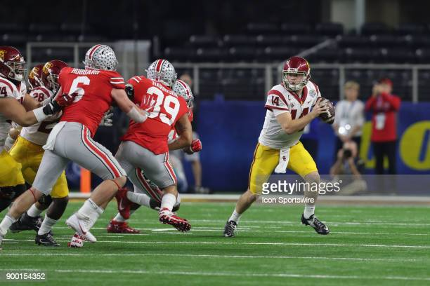 USC Sam Donald looks to pass the ball in the Goodyear Cotton Bowl Classic between the USC Trojans and the Ohio State Buckeyes on December 29th 2017...