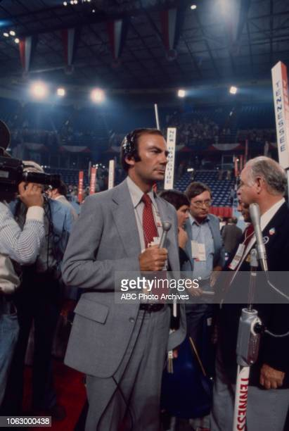 Sam Donaldson on the convention floor at the 1976 Republican National Convention Kemper Arena