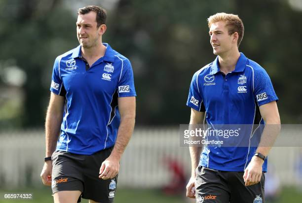 Sam Durdin and Todd Goldstein of the Kangaroos are seen before the round three AFL match between the North Melbourne Kangaroos and the Greater...