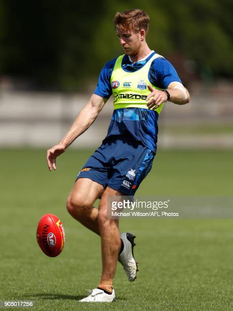 Sam Durdin of the Kangaroos in action during a North Melbourne Kangaroos Training Session at Arden Street Ground on January 15 2018 in Melbourne...