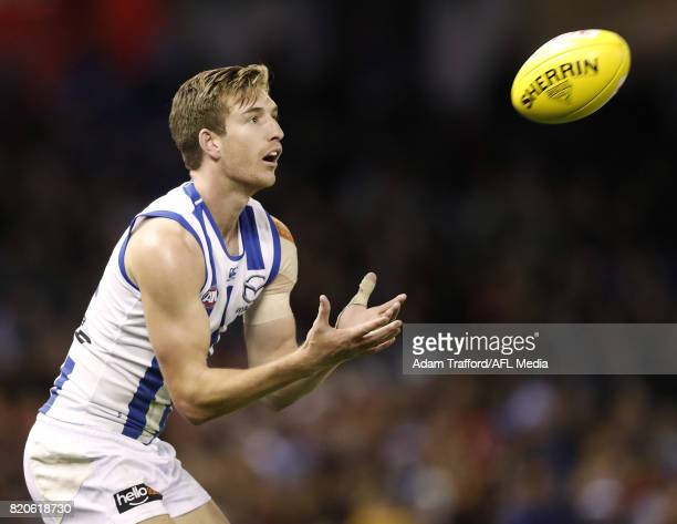 Sam Durdin of the Kangaroos marks the ball during the 2017 AFL round 18 match between the Essendon Bombers and the North Melbourne Kangaroos at...