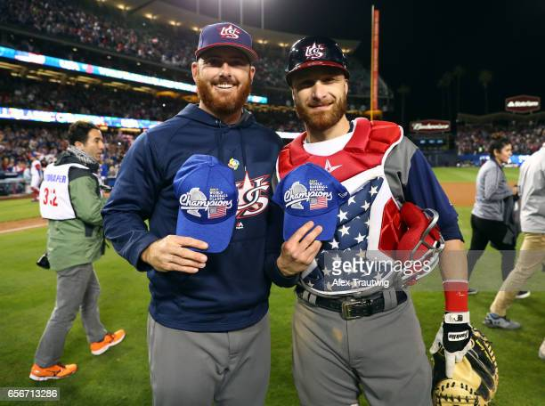 Sam Dyson and Jonathan Lucroy of Team USA pose on field after winning Game 3 of the Championship Round of the 2017 World Baseball Classic against...