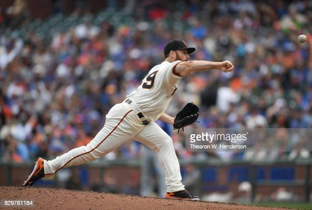 Sam Dyson of the San Francisco Giants pitches against the Chicago Cubs in the top of the ninth inning at ATT Park on August 9 2017 in San Francisco...