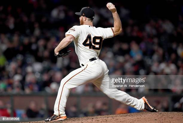 Sam Dyson of the San Francisco Giants pitches against the Cleveland Indians in the top of the ninth inning at ATT Park on July 18 2017 in San...
