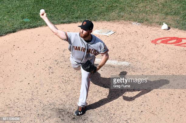 Sam Dyson of the San Francisco Giants pitches in the ninth inning against the Washington Nationals during Game 1 of a doubleheader at Nationals Park...