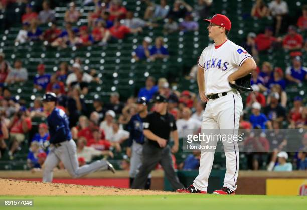 Sam Dyson of the Texas Rangers after giving up a solo home run to Logan Morrison of the Tampa Bay Rays during the tenth inning at Globe Life Park in...
