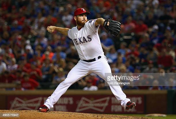 Sam Dyson of the Texas Rangers pitches against the Detroit Tigers in the top of the seventh inning at Globe Life Park in Arlington on September 29...