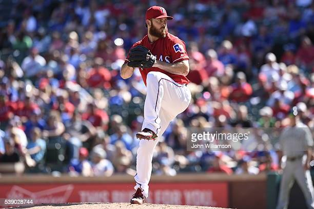 Sam Dyson of the Texas Rangers pitches against the Seattle Mariners at Globe Life Park in Arlington on June 5 2016 in Arlington Texas The Texas...