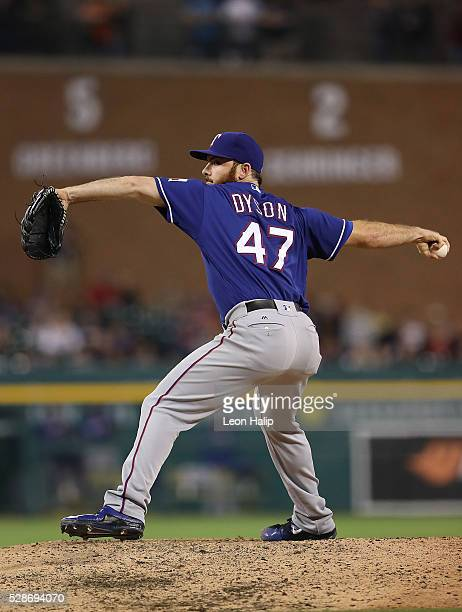 Sam Dyson of the Texas Rangers pitches during the ninth inning of the game against the Detroit Tigers on May 6 2016 at Comerica Park in Detroit...