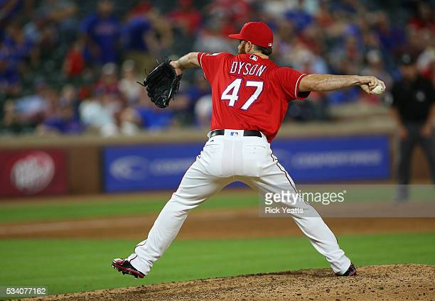 Sam Dyson of the Texas Rangers pitches in the ninth inning against the Los Angeles Angels of Anaheim at Global Life Park in Arlington on May 24 2016...
