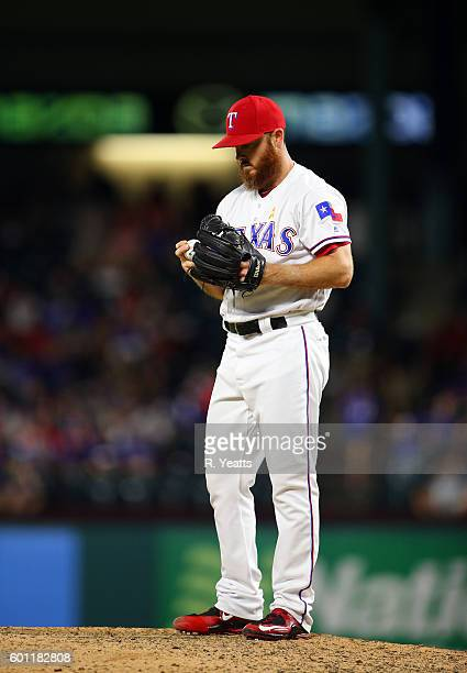 Sam Dyson of the Texas Rangers throws in the ninth inning against the Houston Astros at Globe Life Park in Arlington on September 2 2016 in Arlington...