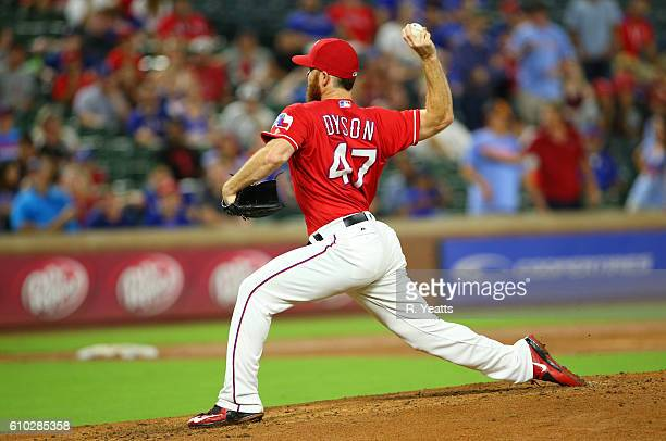 Sam Dyson of the Texas Rangers throws in the ninth inning against the Los Angeles Angels of Anaheim at Globe Life Park in Arlington on September 19...