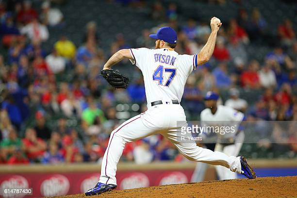 Sam Dyson of the Texas Rangers throws in the ninth inning against the Milwaukee Brewers at Globe Life Park in Arlington on September 27 2016 in...