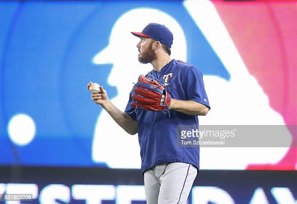 Sam Dyson of the Texas Rangers warms up during batting practice before the start of MLB game action against the Toronto Blue Jays on May 2 2016 at...