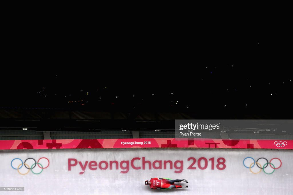 Sam Edney of Canada in action during Luge Training ahead of the PyeongChang 2018 Winter Olympic Games at Olympic Sliding Centre on February 7, 2018 in Pyeongchang-gun, South Korea.