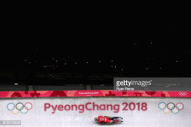 Sam Edney of Canada in action during Luge Training ahead of the PyeongChang 2018 Winter Olympic Games at Olympic Sliding Centre on February 7 2018 in...