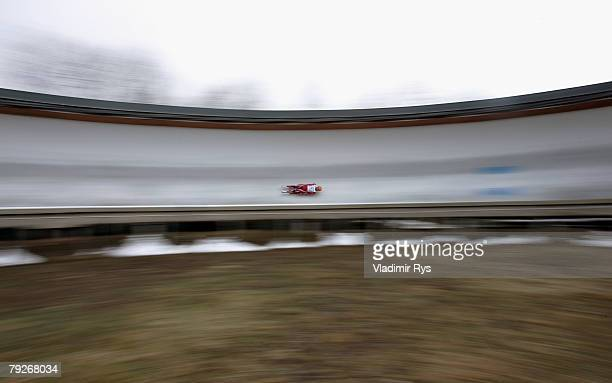 Sam Edney of Canada in action during the men's final race of the 40th Luge World Championships at the Rodelbahn Oberhof on January 26 2008 in Oberhof...