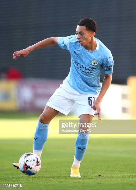 Sam Edozie of Manchester City during the EFL Trophy match between Mansfield Town and Manchester City U21 at One Call Stadium on September 8, 2020 in...