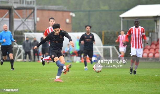 Sam Edozie of Manchester City scores their fourth goal during the U18 Premier League match between Stoke City and Manchester City at Clayton Wood...