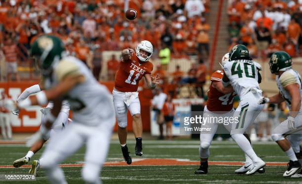 Sam Ehlinger of the Texas Longhorns thorws a pass in the first half against the Baylor Bears at Darrell K RoyalTexas Memorial Stadium on October 13...
