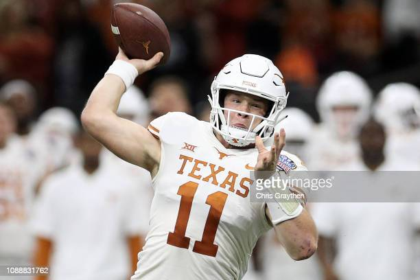 Sam Ehlinger of the Texas Longhorns throws a pass against the Georgia Bulldogs at MercedesBenz Superdome on January 01 2019 in New Orleans Louisiana