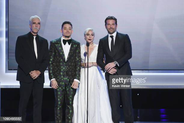 Sam Elliott Anthony Ramos Lady Gaga and Bradley Cooper speak onstage during the 25th Annual Screen ActorsGuild Awards at The Shrine Auditorium on...