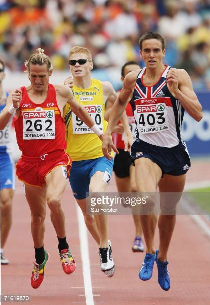 Sam Ellis of Great Britain competes with Miguel Quesada of Spain during the Men's 800 Metres First Round on day four of the 19th European Athletics...