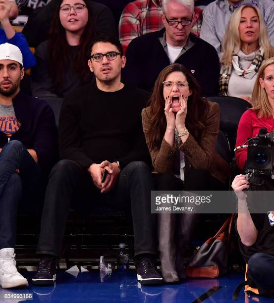 Sam Esmail and Emmy Rossum attend the San Antonio Spurs Vs New York Knicks game at Madison Square Garden on February 12 2017 in New York City