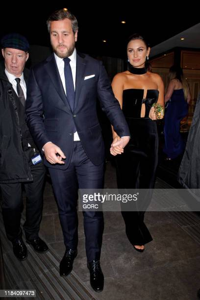Sam Faiers and Paul Knightley seen leaving the Pride of Britain Awards at the Grosvenor hotel in Mayfair on October 28 2019 in London England