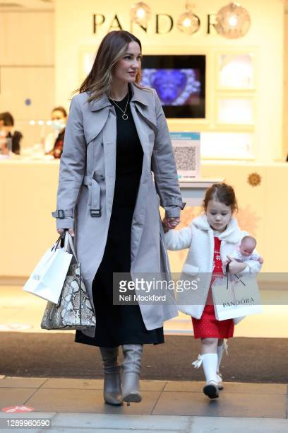 Sam Faiers seen Christmas shopping with her daughter Rosie at Pandora Marble Arch on December 07, 2020 in London, England.