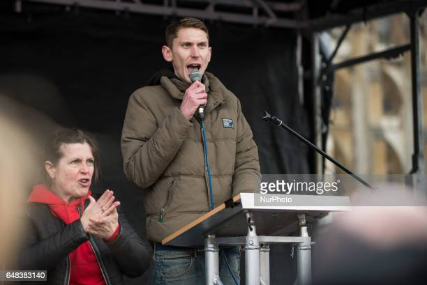 Sam Fairbairn Secretary of People's Assembly Against Austerity giving a speech in Parliament Square at quotIt's our NHSquot National Demonstration to...