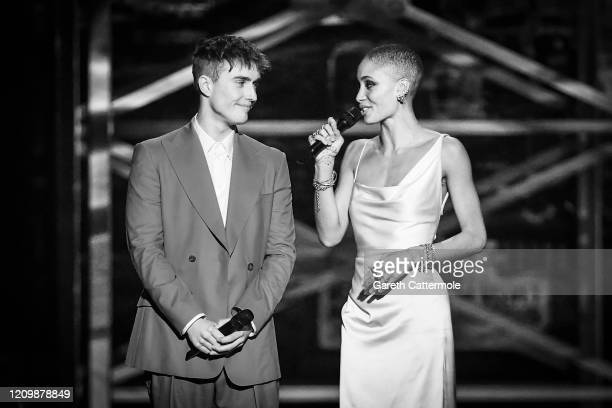 Sam Fender and Adwoa Aboah present the Brits Rising Star Award during The BRIT Awards 2020 at The O2 Arena on February 18 2020 in London England